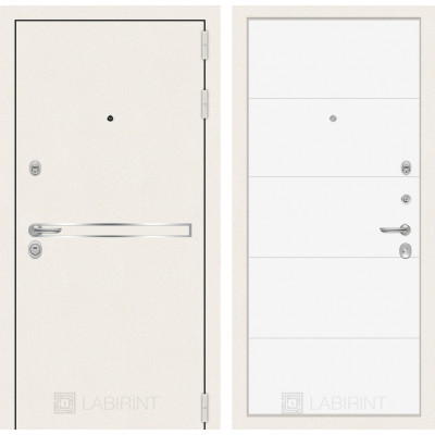 Стальная дверь Лабиринт LINE WHITE 13 (Белый софт)