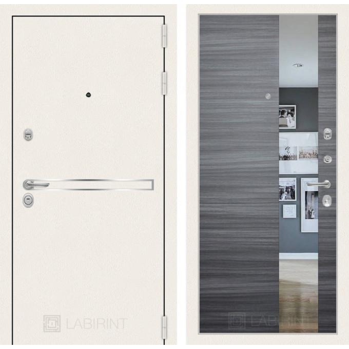 Стальная дверь Лабиринт LINE WHITE с зеркалом (Сандал серый)