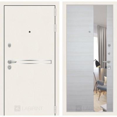 Стальная дверь Лабиринт LINE WHITE с зеркалом (Акация светлая)