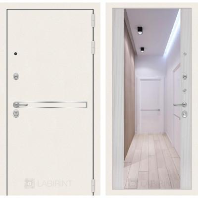 Стальная дверь Лабиринт LINE WHITE Максимум с зеркалом (Сандал белый)