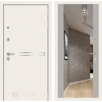 Стальная дверь Лабиринт LINE WHITE Максимум с зеркалом (Грей софт)