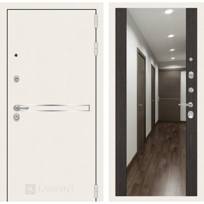 Стальная дверь Лабиринт LINE WHITE Максимум с зеркалом (Венге)