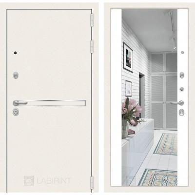 Стальная дверь Лабиринт LINE WHITE Максимум с зеркалом (Белый софт)