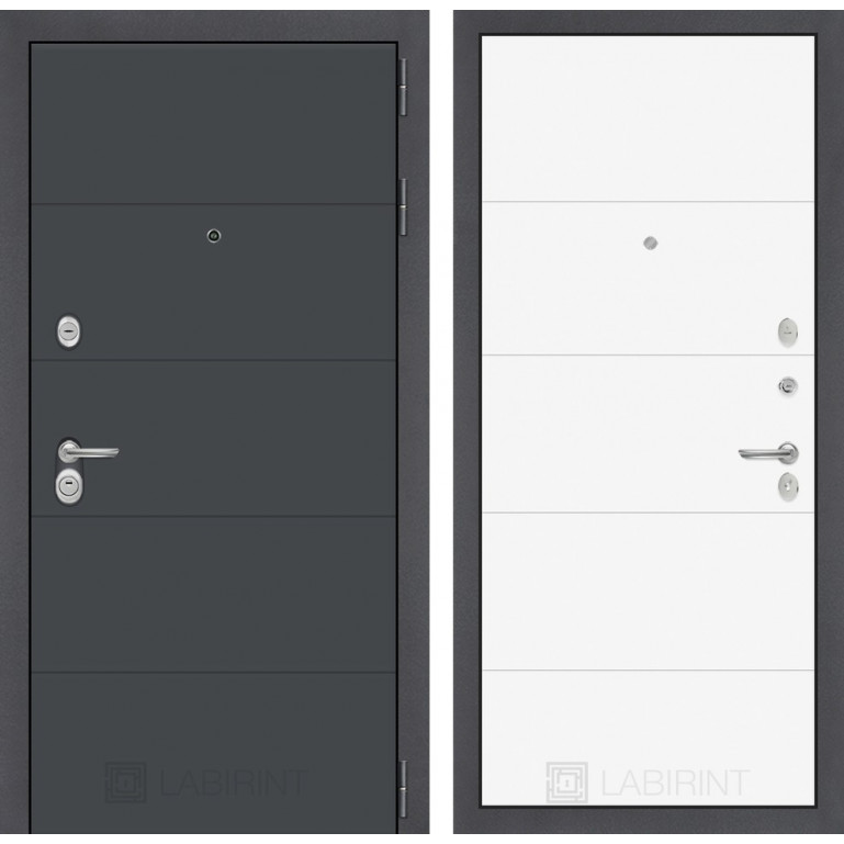 Стальная дверь Лабиринт ART 13 (Белый софт)