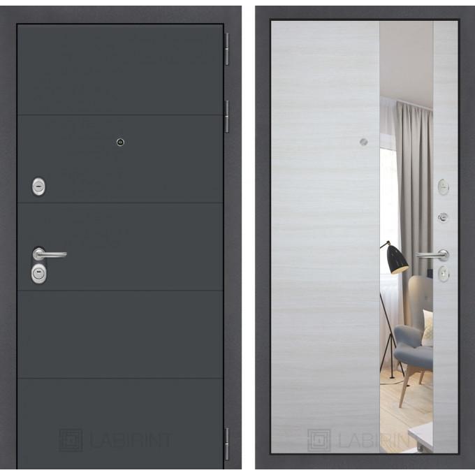 Стальная дверь Лабиринт ART с зеркалом (Акация светлая)