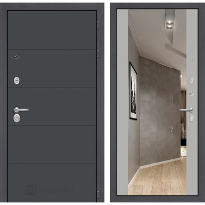 Стальная дверь Лабиринт ART с зеркалом (Грей софт)