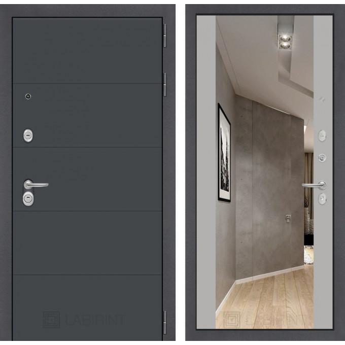 Стальная дверь Лабиринт ART Максимум с зеркалом (Грей софт)