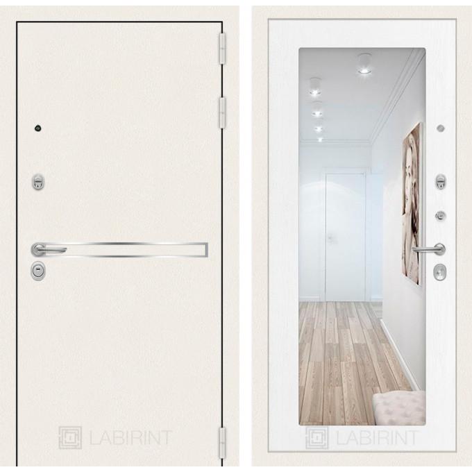 Стальная дверь Лабиринт LINE WHITE 18 с зеркалом (Белое дерево)