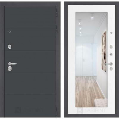 Стальная дверь Лабиринт ART 18 с зеркалом (Белое дерево)