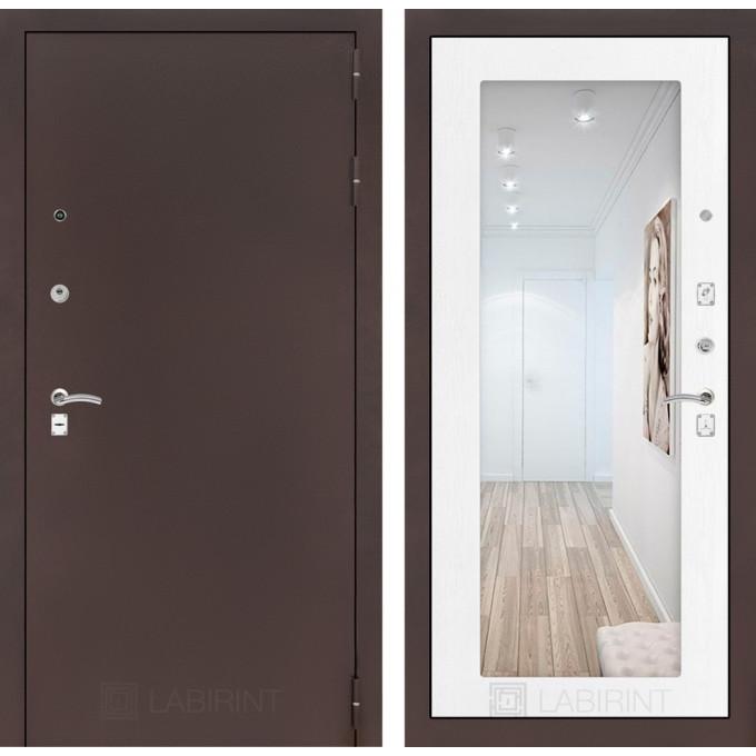 Дверь Лабиринт Classic 18 с зеркалом (Медный антик / Белое дерево)
