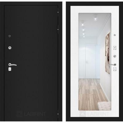 Дверь Лабиринт Classic 18 с зеркалом (Шагрень черная / Белое дерево)