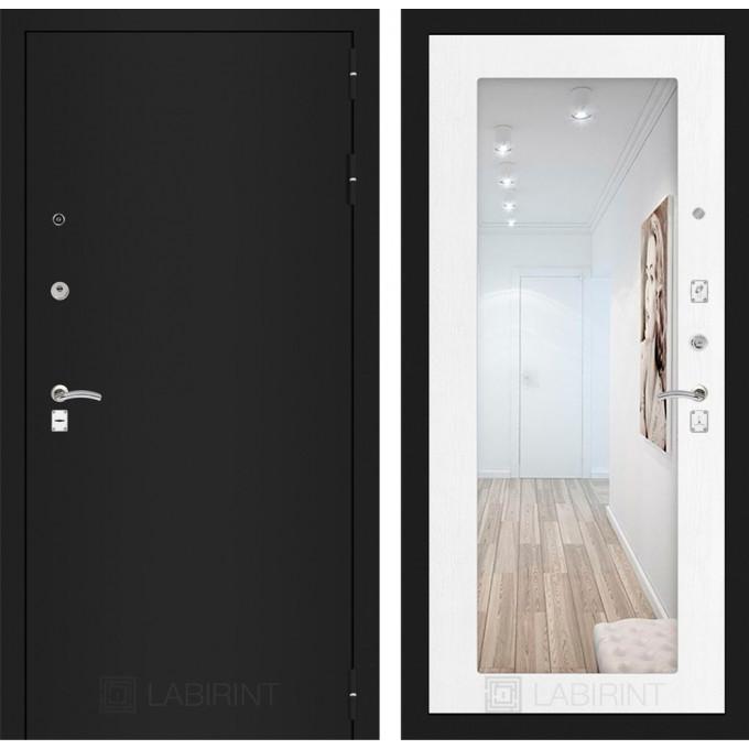 Дверь Лабиринт Classic с зеркалом (Шагрень черная / Белое дерево)