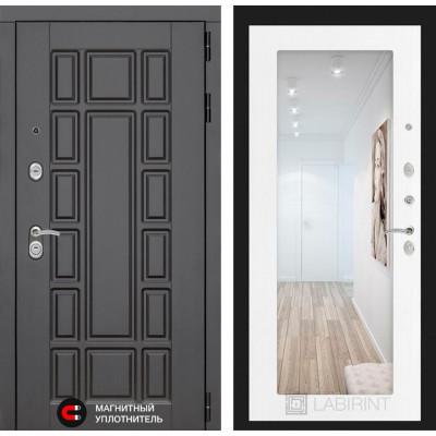 Стальная дверь Лабиринт NEW YORK 18 с зеркалом (Белое дерево)