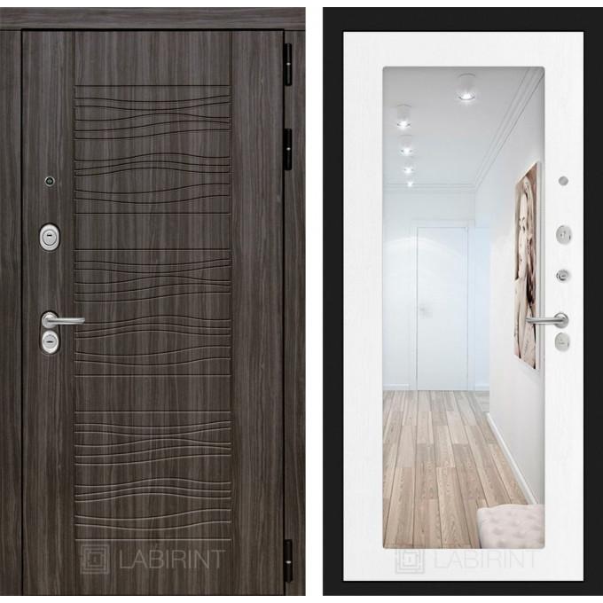 Стальная дверь Лабиринт SCANDI 18 с зеркалом (Белое дерево)