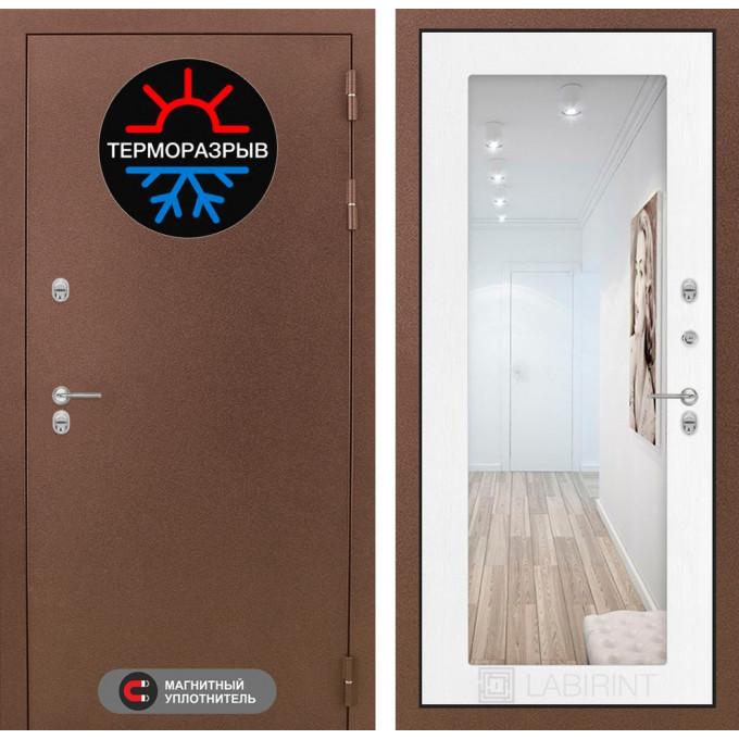 Стальная дверь Лабиринт Термо Магнит 18 с зеркалом (Белое дерево)