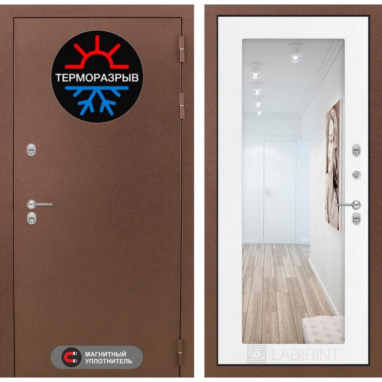 Стальная дверь Лабиринт Термо Магнит с зеркалом (Белое дерево)
