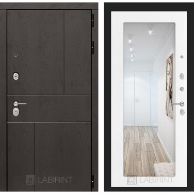 Стальная дверь Лабиринт URBAN 18 с зеркалом (Белое дерево)