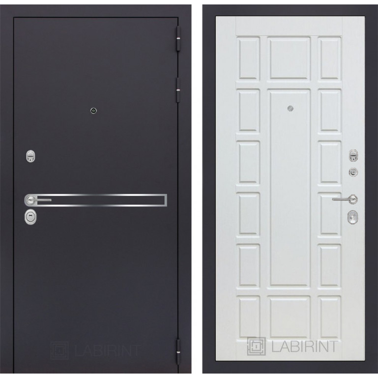 Стальная дверь Лабиринт LINE 12 (Белое дерево)