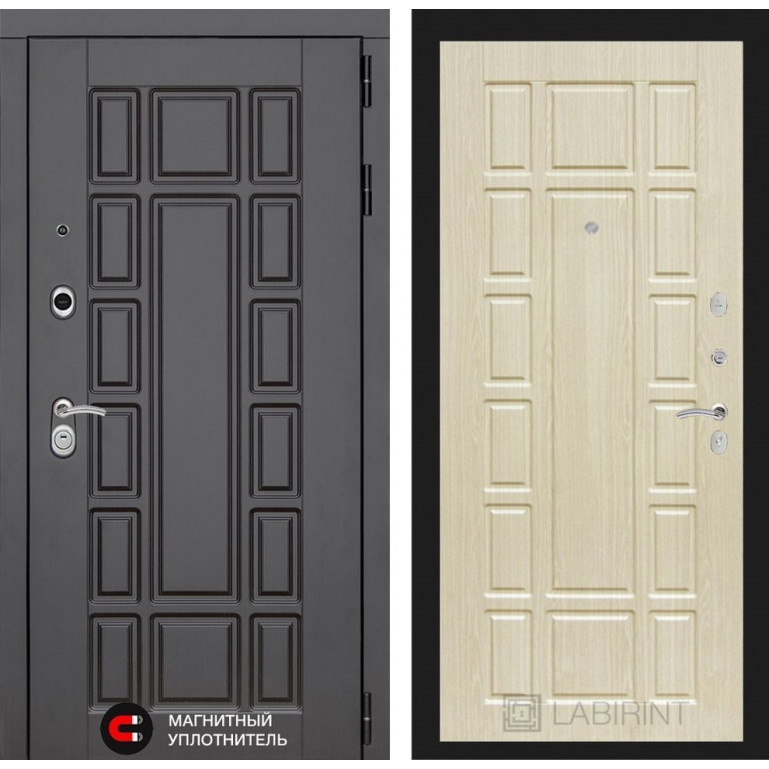 Стальная дверь Лабиринт NEW YORK 12 (Беленый дуб)