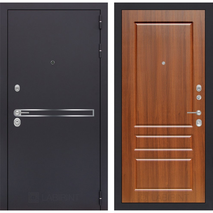 Стальная дверь Лабиринт LINE 03 (Орех бренди)