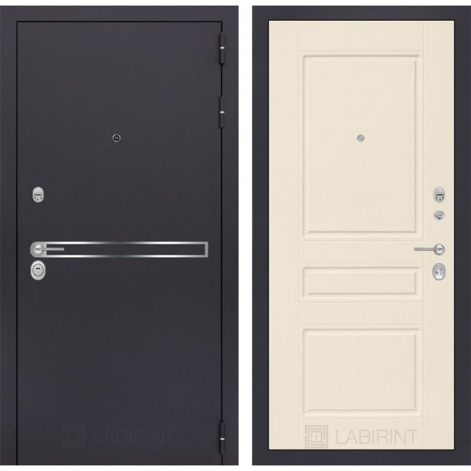 Стальная дверь Лабиринт LINE 03 (Крем софт)