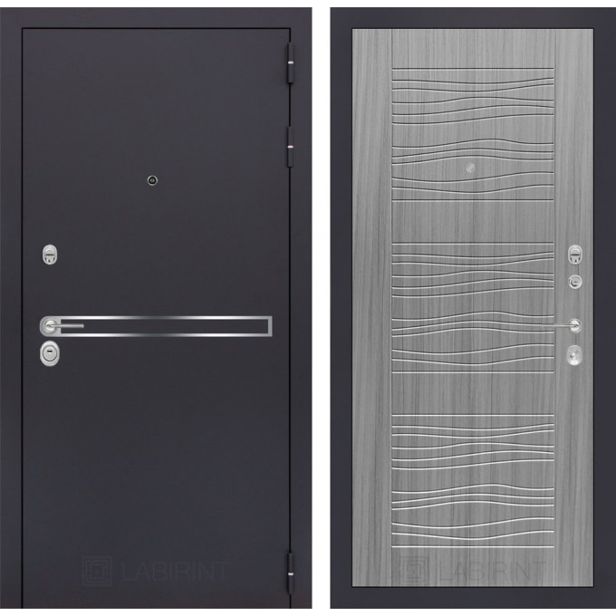 Стальная дверь Лабиринт LINE 06 (Сандал серый)