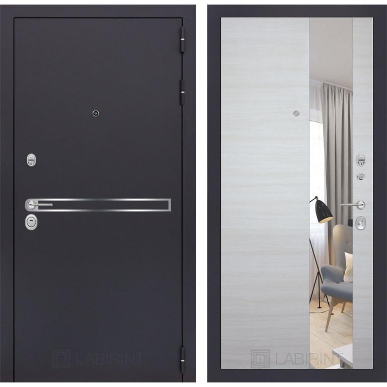 Стальная дверь Лабиринт LINE с зеркалом (Акация светлая)