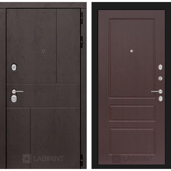 Стальная дверь Лабиринт URBAN 03 (Орех премиум)