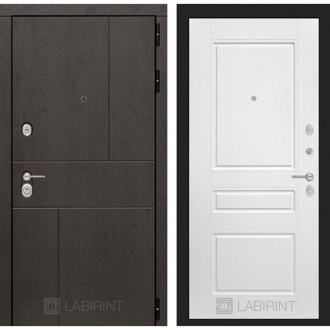 Стальная дверь Лабиринт URBAN 03 (Белый софт)
