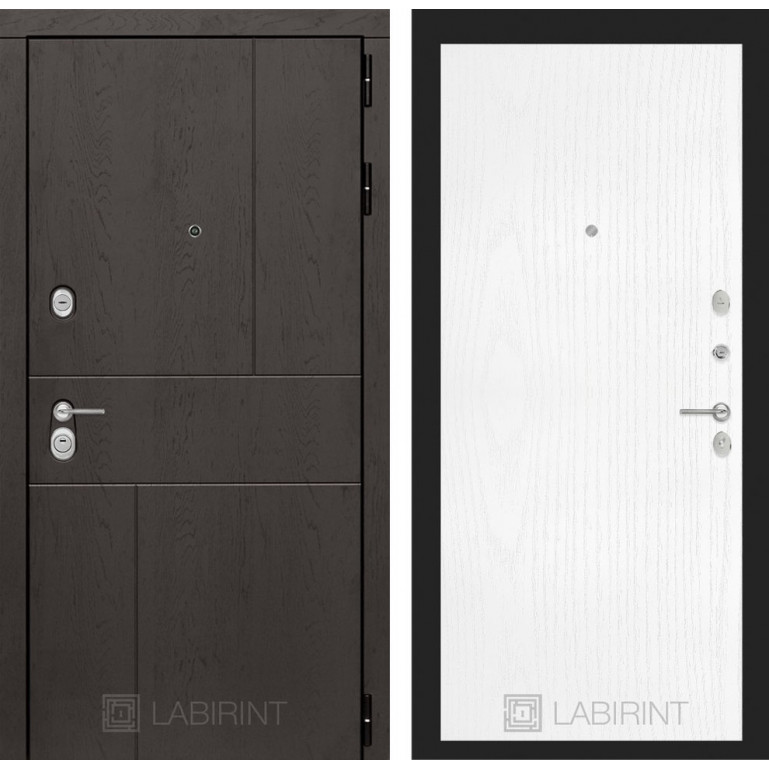 Стальная дверь Лабиринт URBAN 07 (Белое дерево)