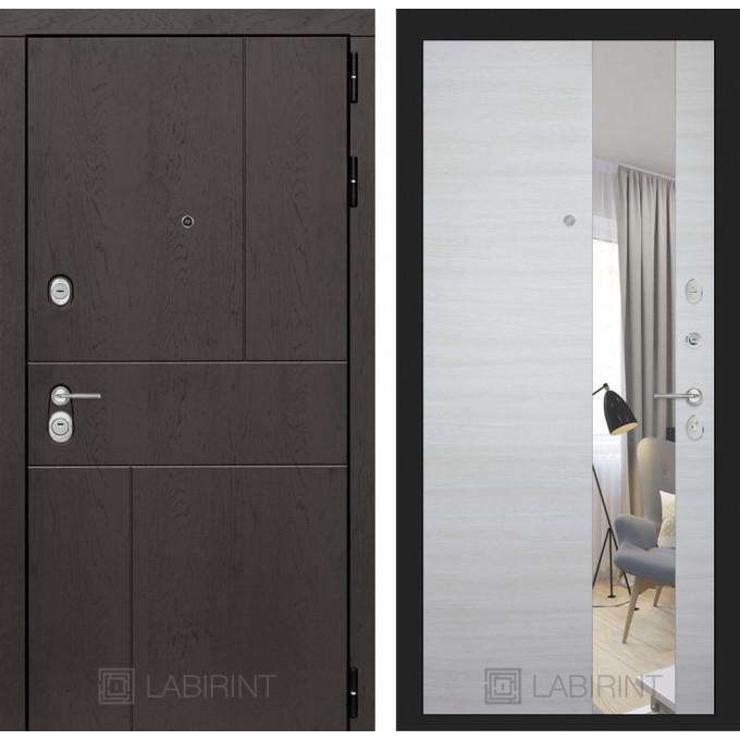 Стальная дверь Лабиринт URBAN с зеркалом (Акация светлая)