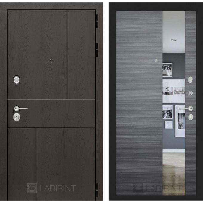 Стальная дверь Лабиринт URBAN с зеркалом (Сандал серый)