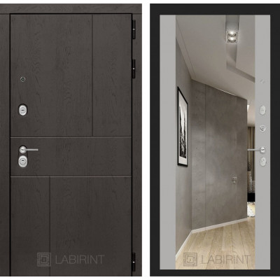 Стальная дверь Лабиринт URBAN Максимум с зеркалом (Грей софт)
