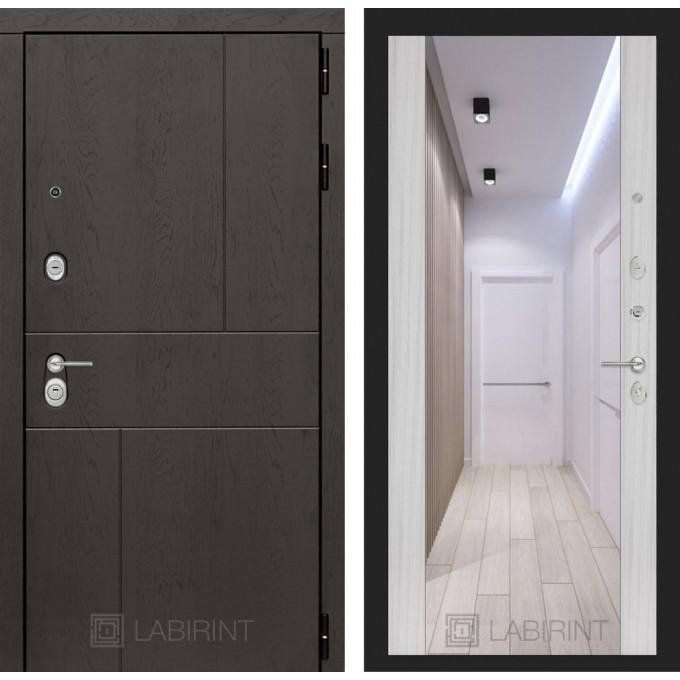 Стальная дверь Лабиринт URBAN Максимум с зеркалом (Сандал белый)