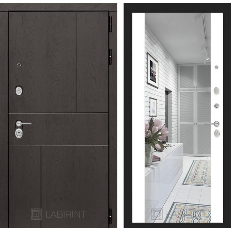 Стальная дверь Лабиринт URBAN с зеркалом (Белый софт)
