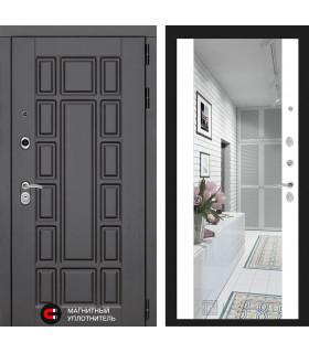 Стальная дверь Лабиринт NEW YORK с зеркалом (Белый софт)