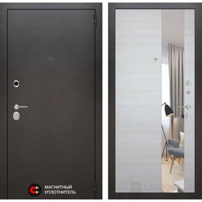 Стальная дверь Лабиринт SILVER с зеркалом (Акация светлая)