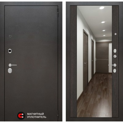 Стальная дверь Лабиринт SILVER с зеркалом (Венге)