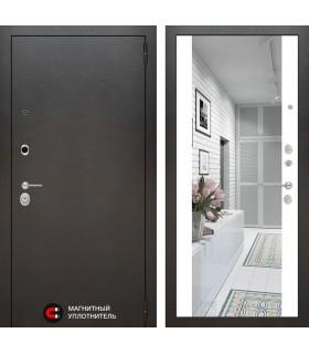 Стальная дверь Лабиринт SILVER с зеркалом (Белый софт)