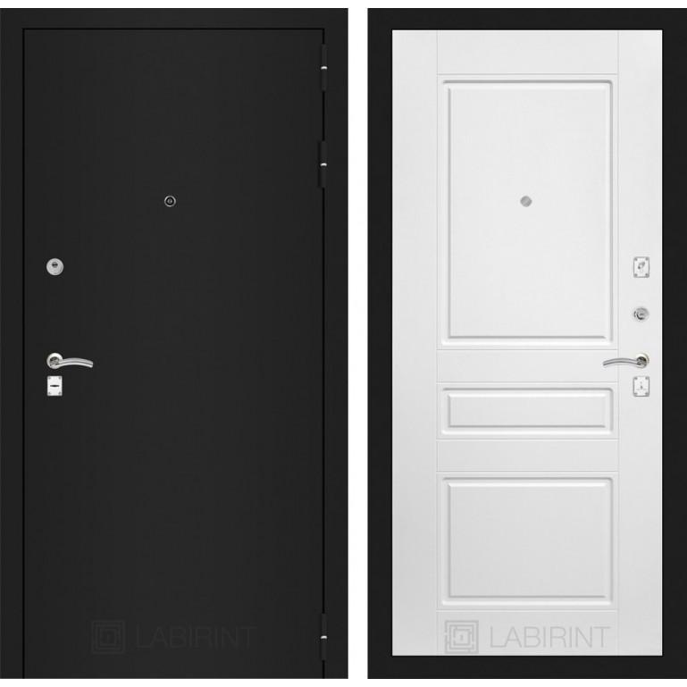 Дверь Лабиринт Classic 03 (Шагрень черная / Белый софт)