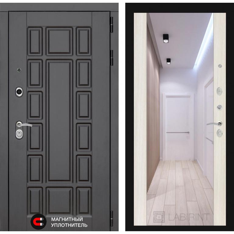 Стальная дверь Лабиринт NEW YORK с зеркалом (Сандал белый)