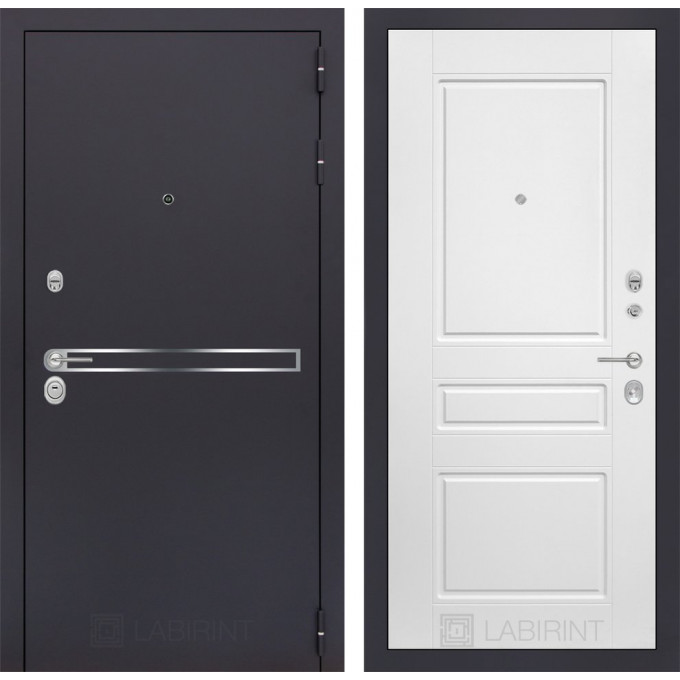Стальная дверь Лабиринт LINE 03 (Белый софт)