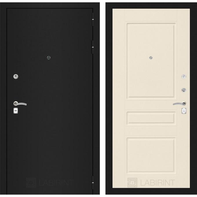 Дверь Лабиринт Classic 03 (Шагрень черная / Крем софт)