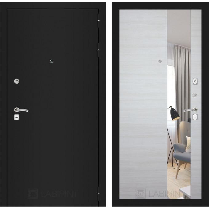 Дверь Лабиринт Classic с зеркалом (Шагрень черная / Акация светлая)