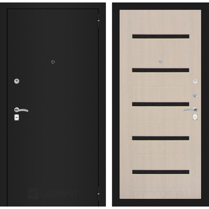 Дверь Лабиринт Classic 01 (Шагрень черная / Беленый дуб)