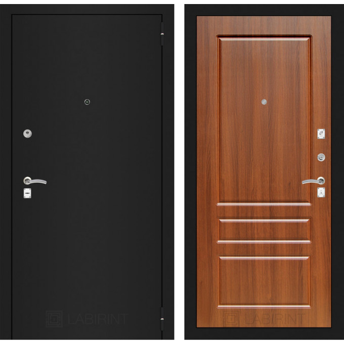 Дверь Лабиринт Classic 03 (Шагрень черная / Орех бренди)