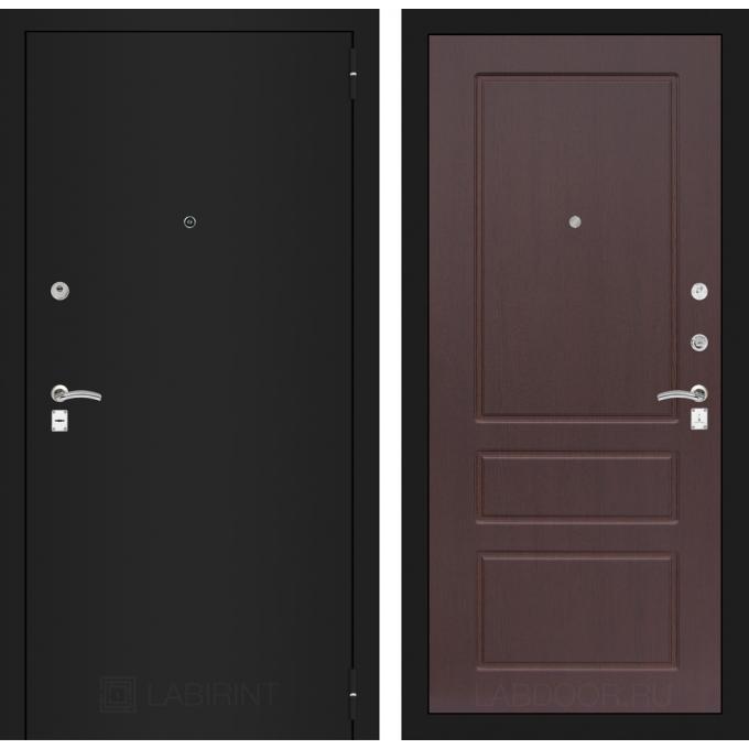 Дверь Лабиринт Classic 03 (Шагрень черная / Орех премиум)