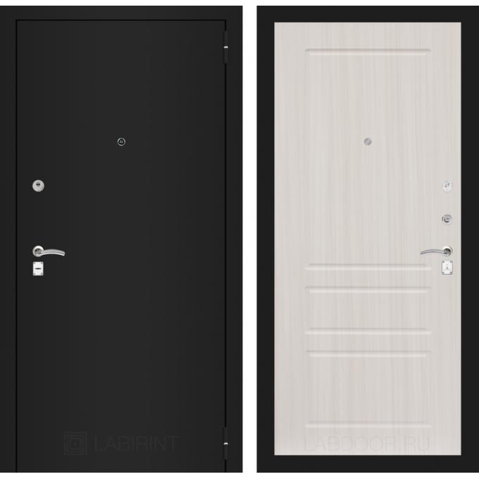 Дверь Лабиринт Classic 03 (Шагрень черная / Сандал белый)
