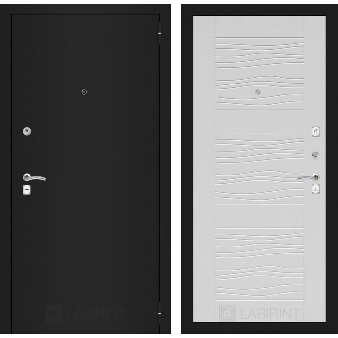 Дверь Лабиринт Classic 06 (Шагрень черная / Белое дерево)