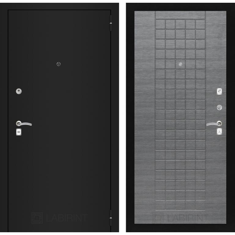 Дверь Лабиринт Classic 09 (Шагрень черная / Лен сильвер грей)